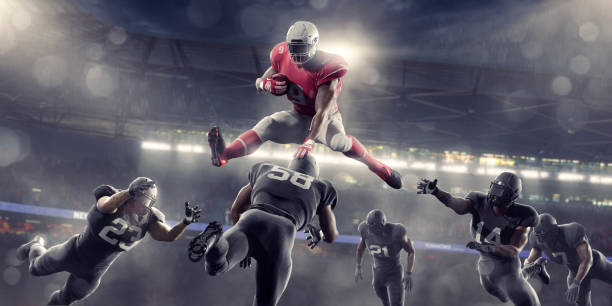 American Football Hero Jumping Over Opponents während Spiel im Stadion – Foto