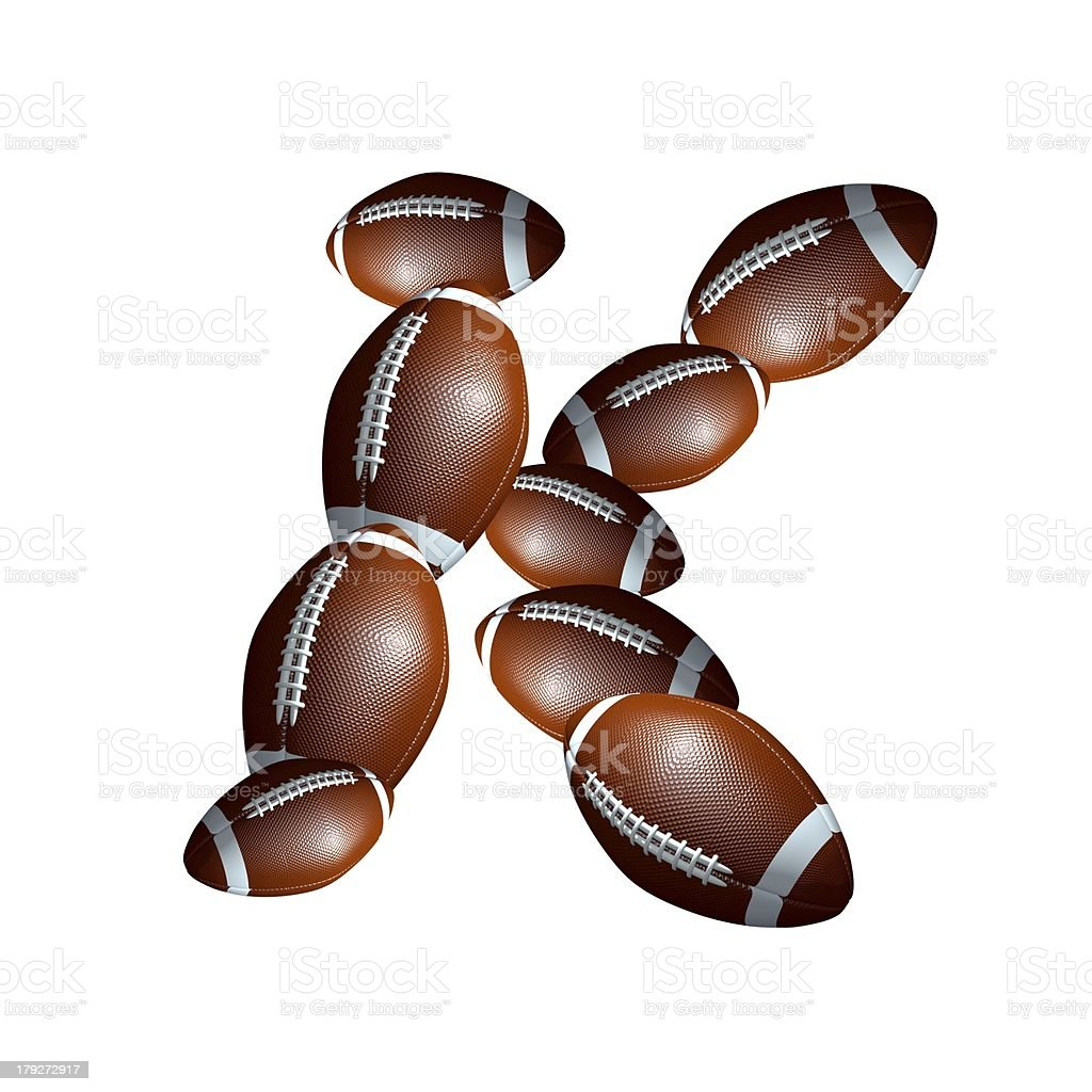 american football icon alphabet capital letter K royalty-free stock photo