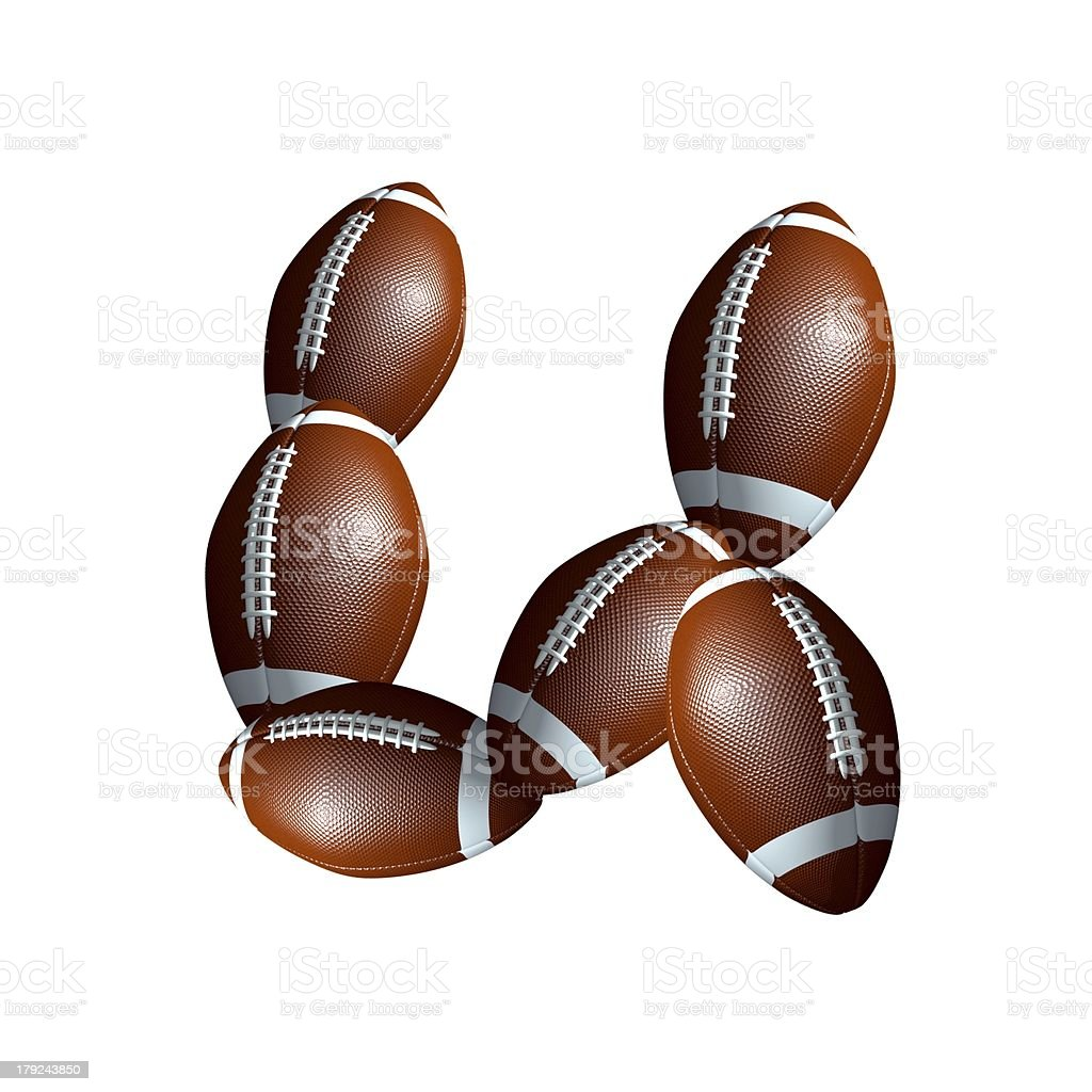 american football icon alphabet capital letter U royalty-free stock photo