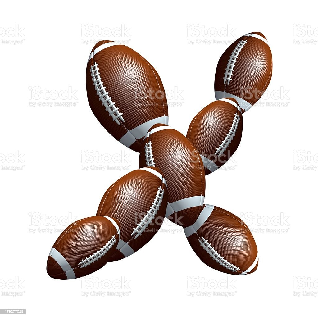 american football icon alphabet capital letter X royalty-free stock photo