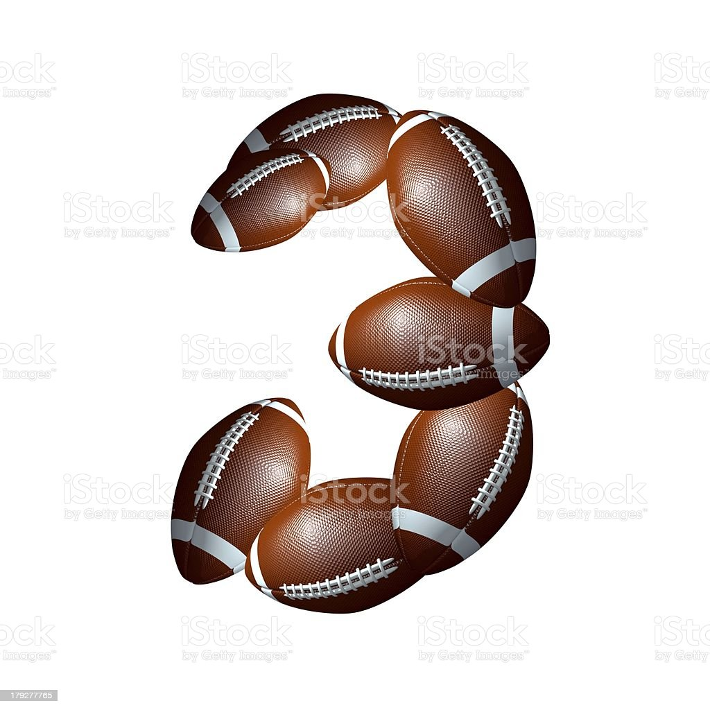 american football icon number 3 royalty-free stock photo