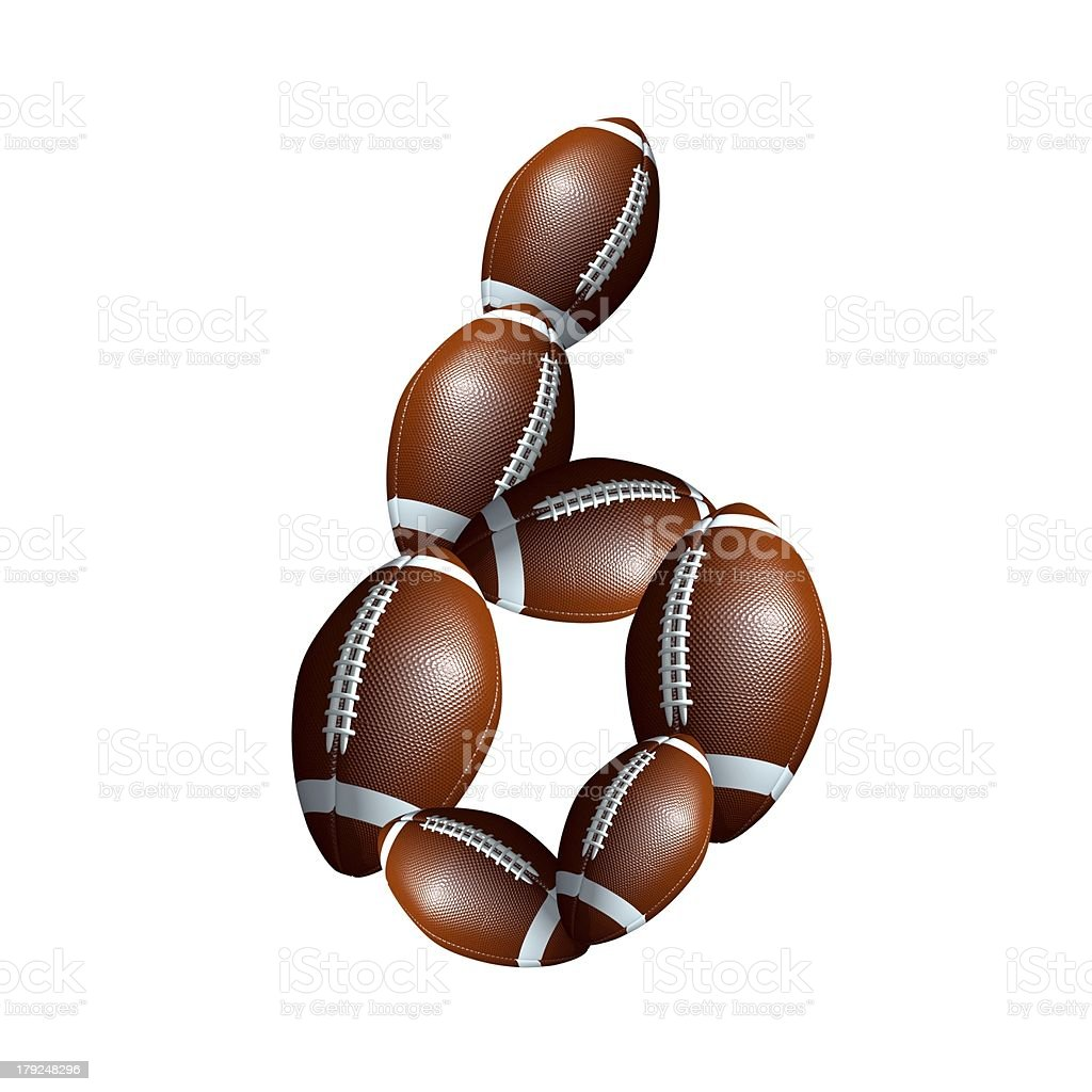 american football icon number 6 royalty-free stock photo