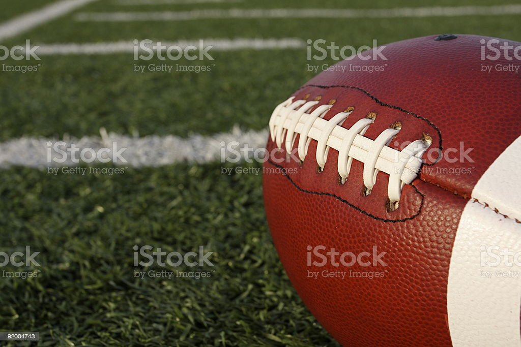 American football laces and field stock photo