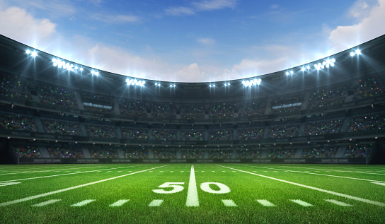 Laeacco American Football Field Scenic Photography: American Football League Stadium With White Lines And Fans