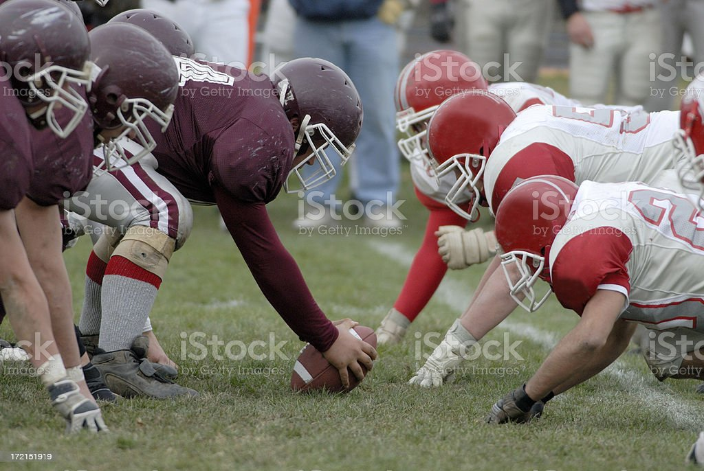 American football line of scrimmage royalty-free stock photo