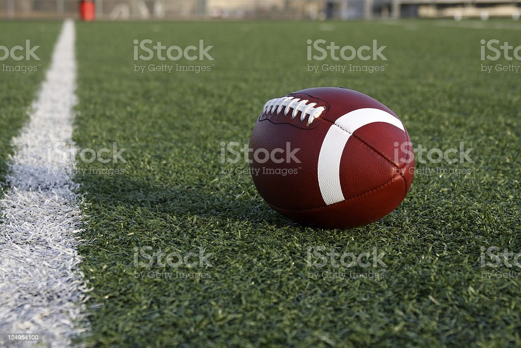 American Football near the Goal Line stock photo
