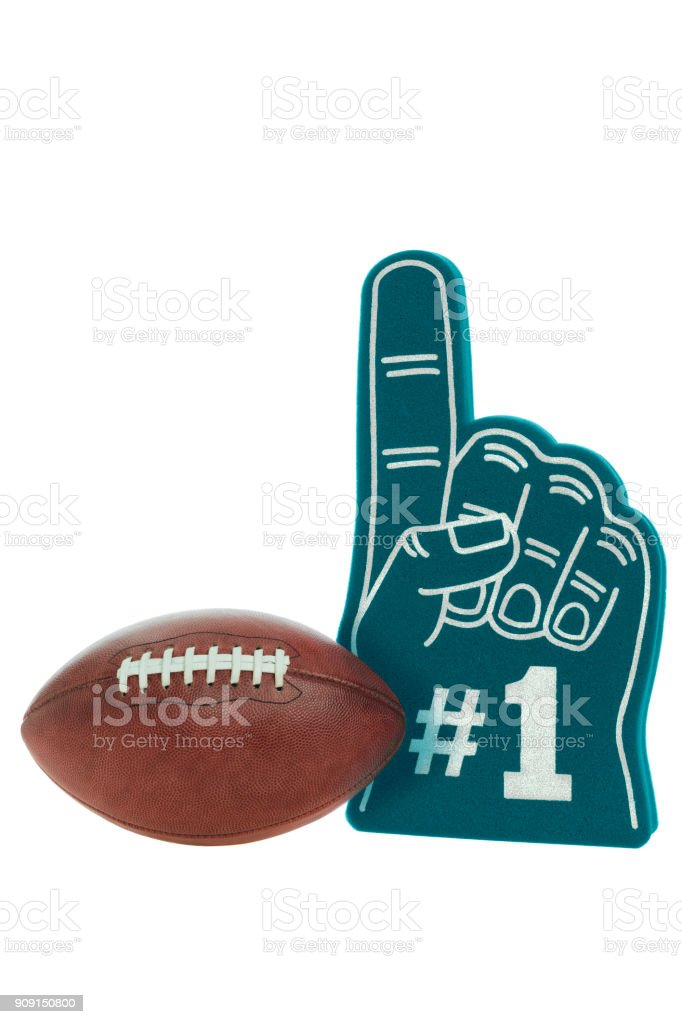 American Football On A White With A Large Green Foam 1 Finger For
