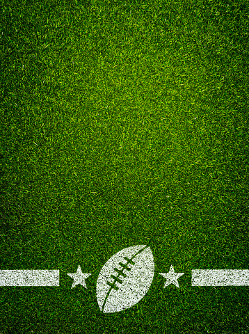 American football and Illustration green background with ball on a football field
