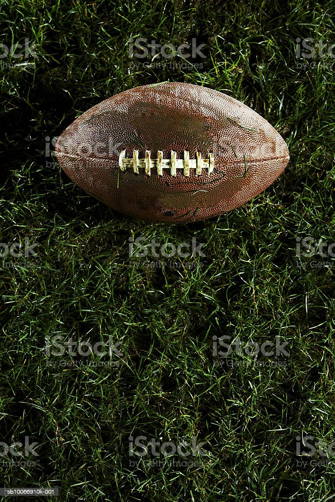 American football on grass, view from above 免版稅 stock photo