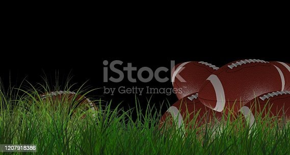 508552962 istock photo American football on green grass, on black background 1207918386