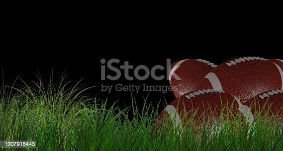 1176737230istockphoto American football on green grass, on black background 1207918443