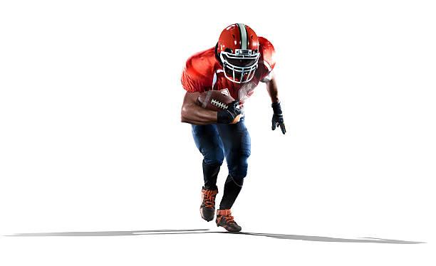American-football-Spieler in Aktion, isoliert auf weiss – Foto