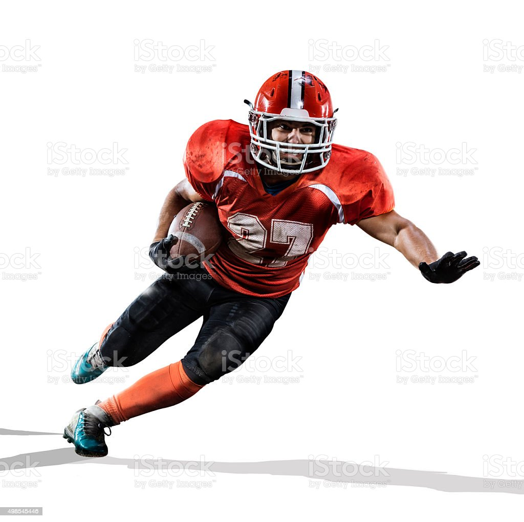 American football player in action isolated on white stock photo