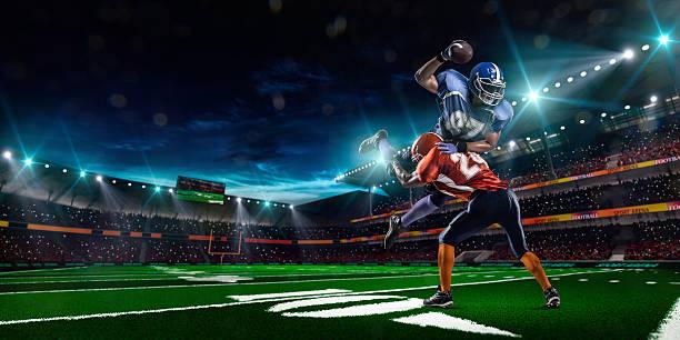 American-football-Spieler in Aktion auf Stadion – Foto