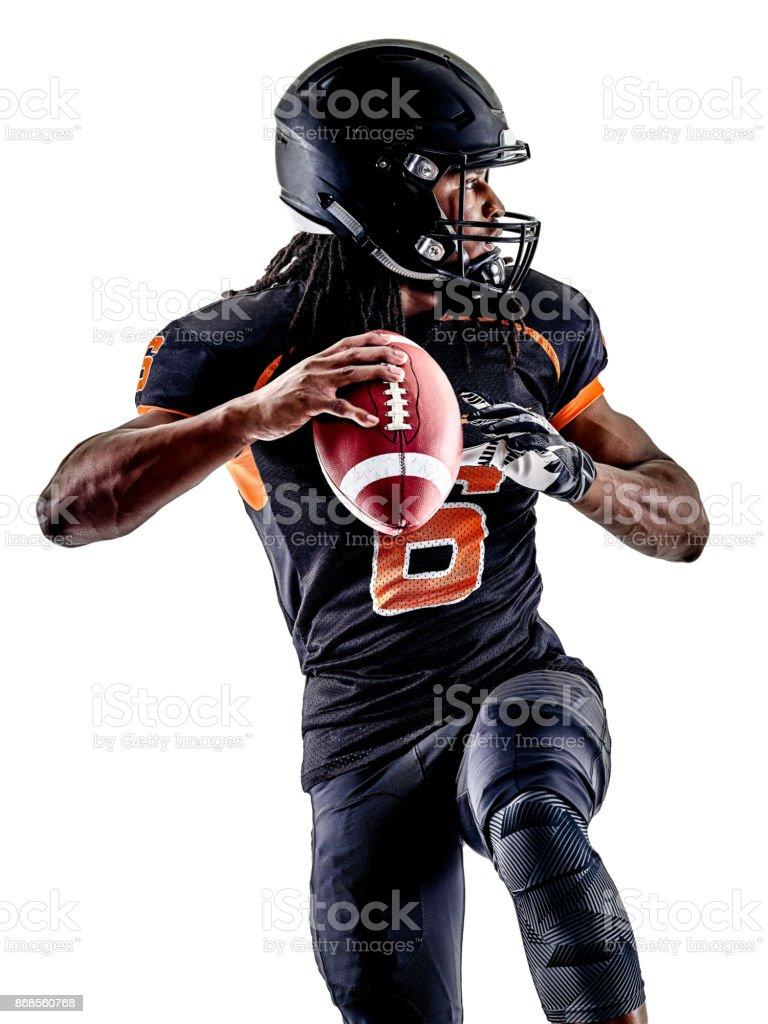 Aislado hombre de jugador de fútbol americano - foto de stock