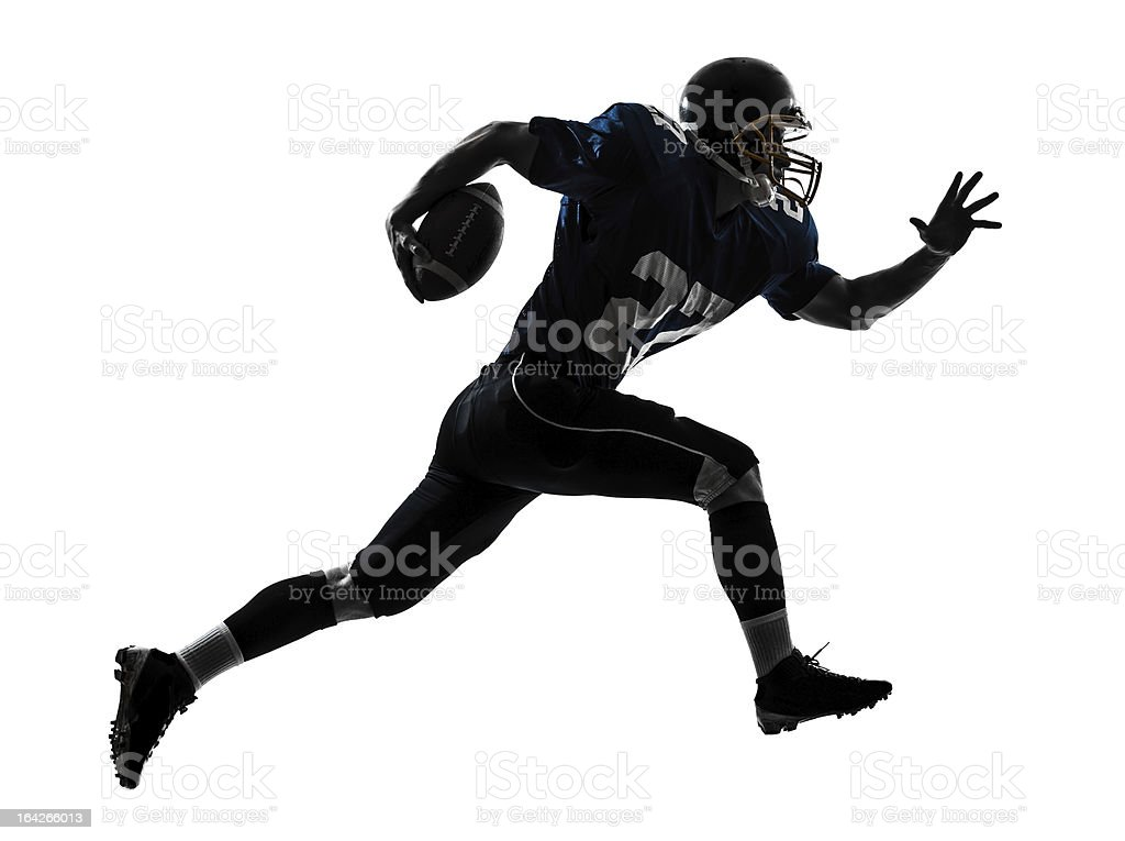 american football player man running silhouette royalty-free stock photo