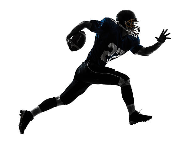 american football player man running silhouette - american football player stock photos and pictures
