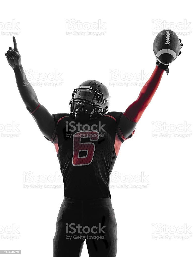 american football player portrait celebrating touchdown silhouette stock photo