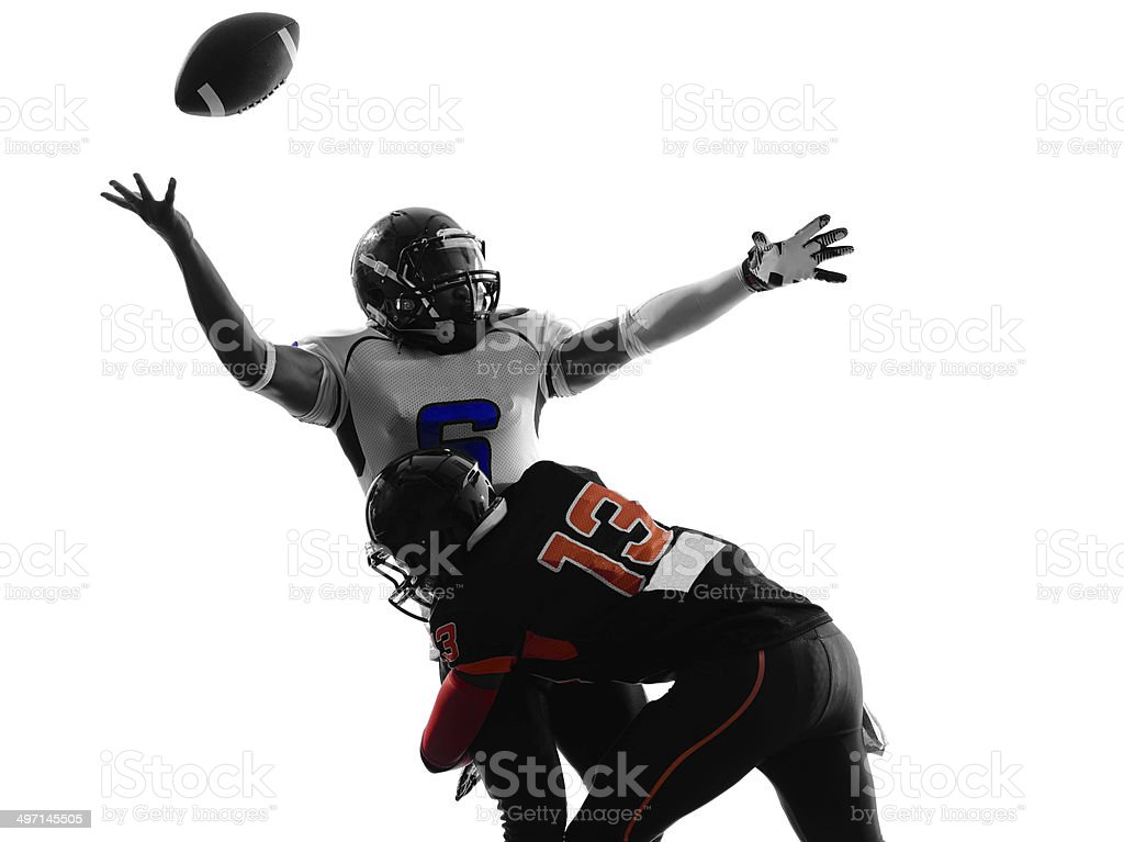 american football player quarterback sacked fumble silhouette stock photo