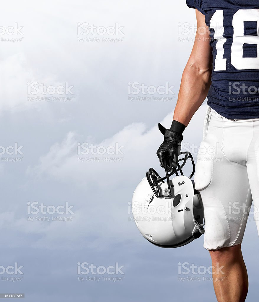 American Football Player Standing Strong stock photo