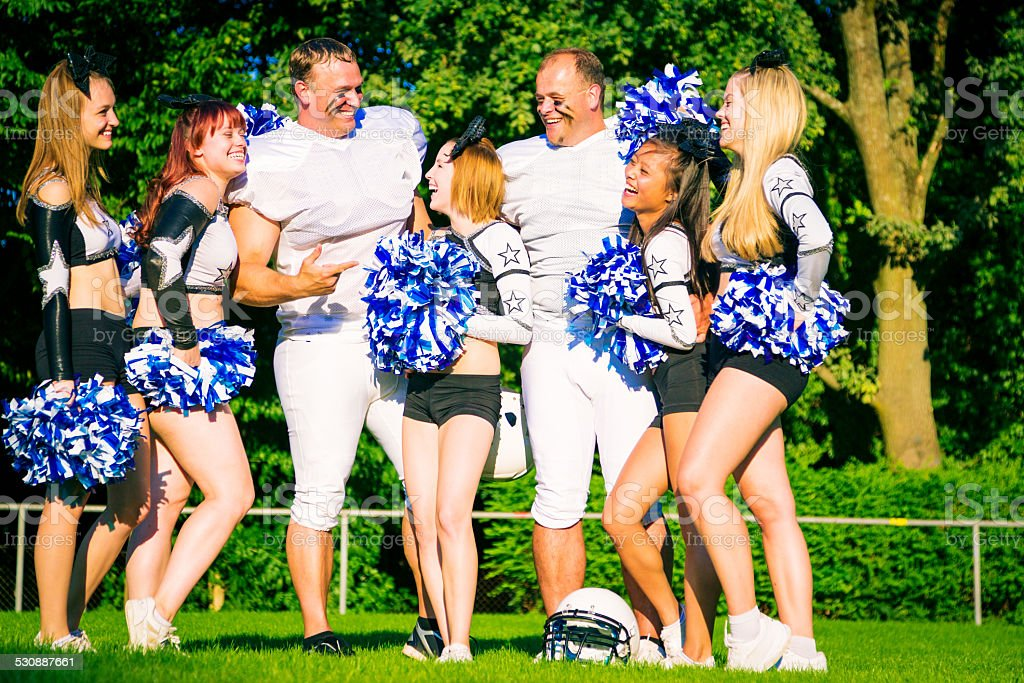 American Football Players And Cheerleaders Stock Photo ...