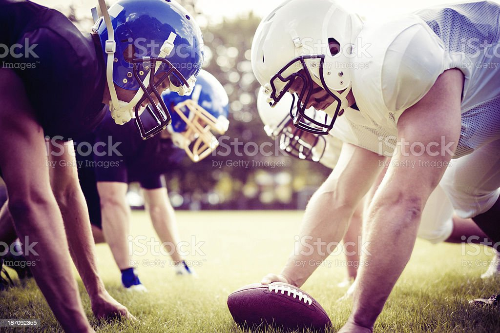 american football players facing each other royalty-free stock photo