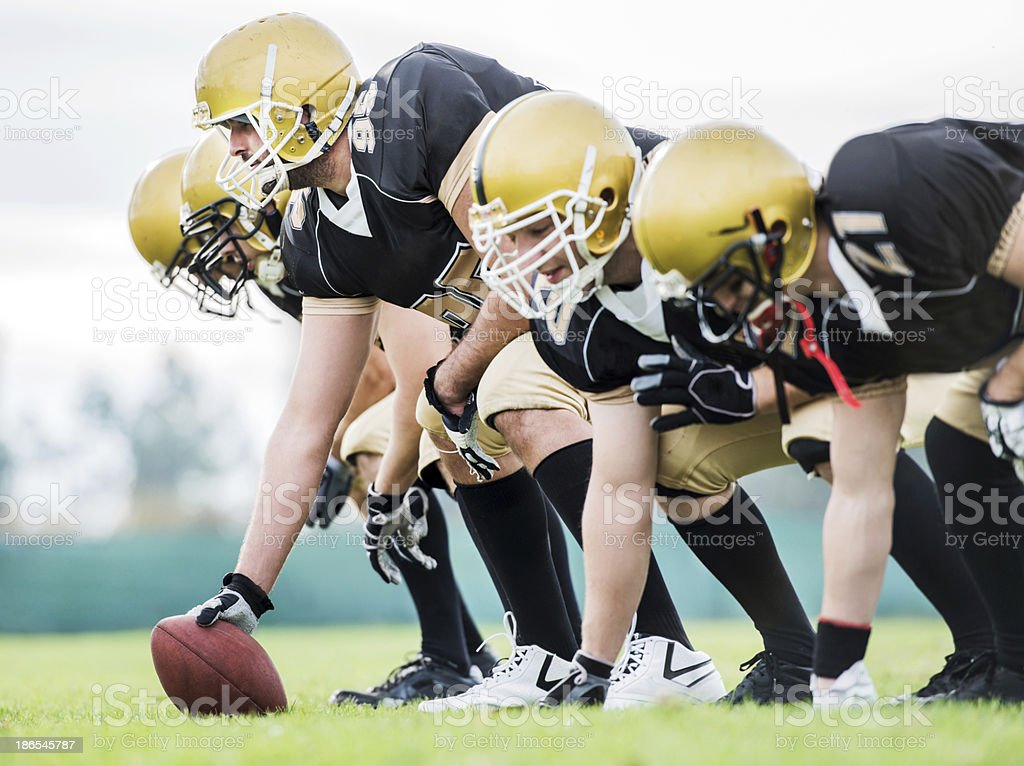 American football players lining up. royalty-free stock photo