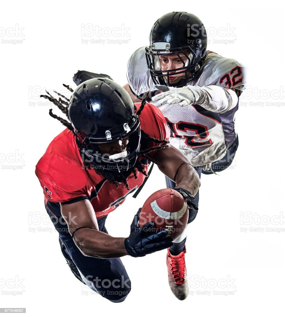 american football players men isolated stock photo