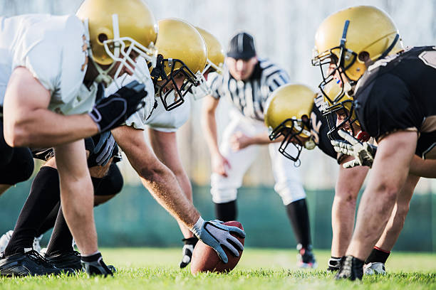 american football players positioning. - american football player stock photos and pictures