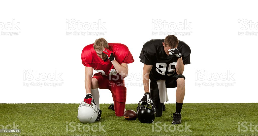 American football players upset stock photo