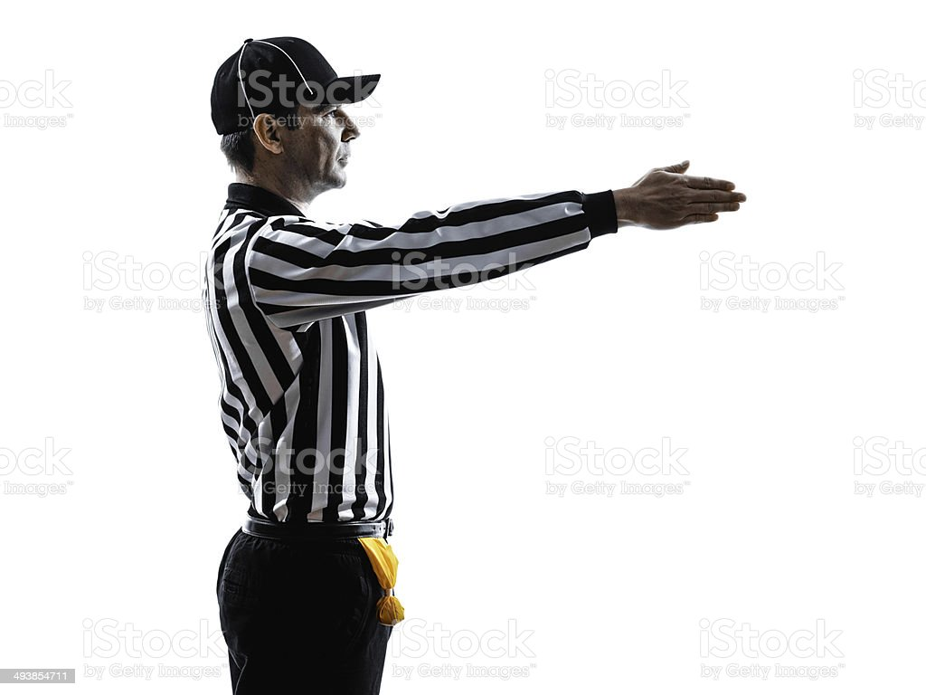 american football referee gestures first down silhouette stock photo