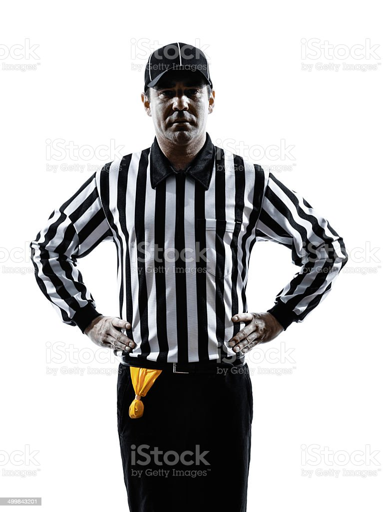 american football referee gestures offside silhouette stock photo
