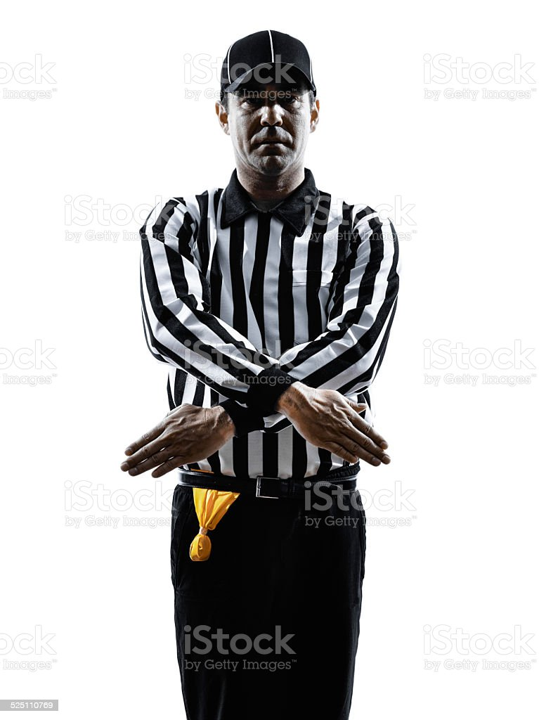 american football referee gestures penalty refused silhouette stock photo
