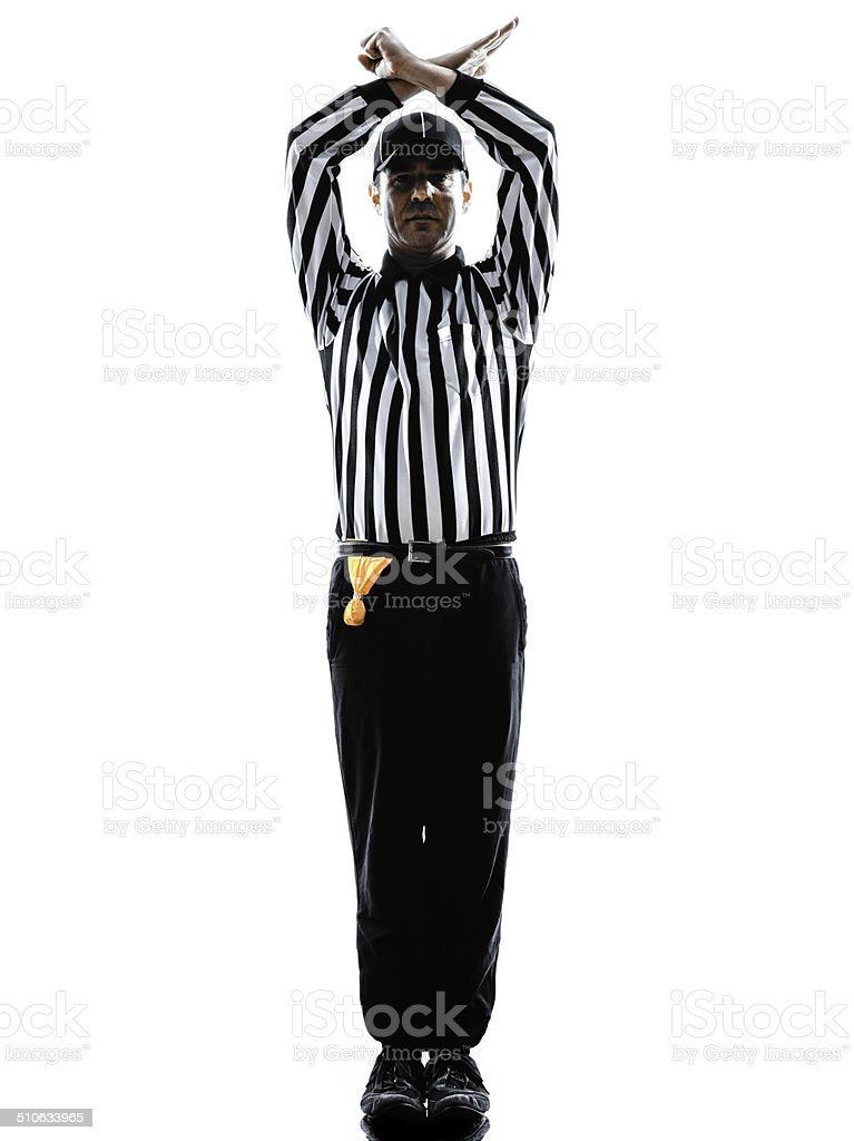 american football referee gestures personal foul silhouette stock photo