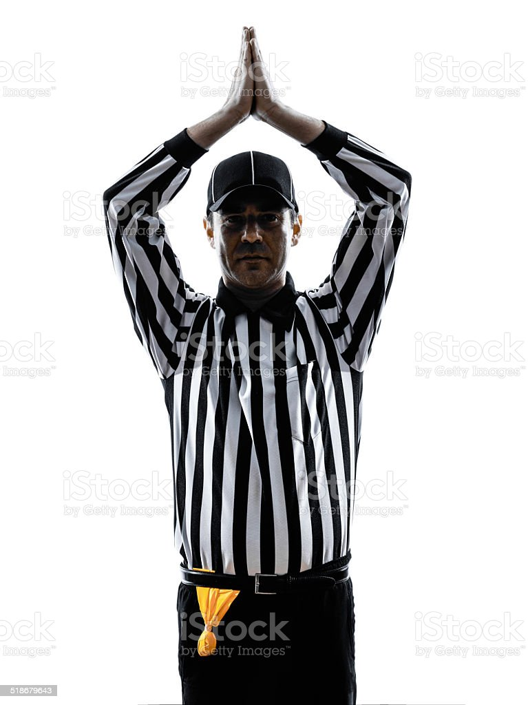 american football referee gestures safety silhouette stock photo