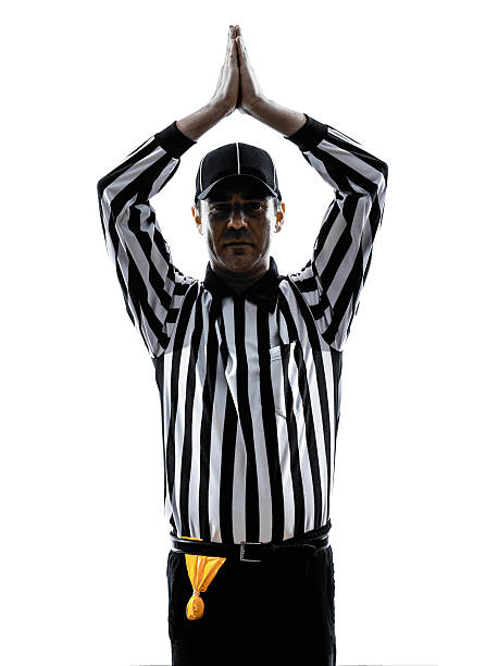 american football referee gestures safety silhouette american football referee gestures safety in silhouette on white background safety american football player stock pictures, royalty-free photos & images