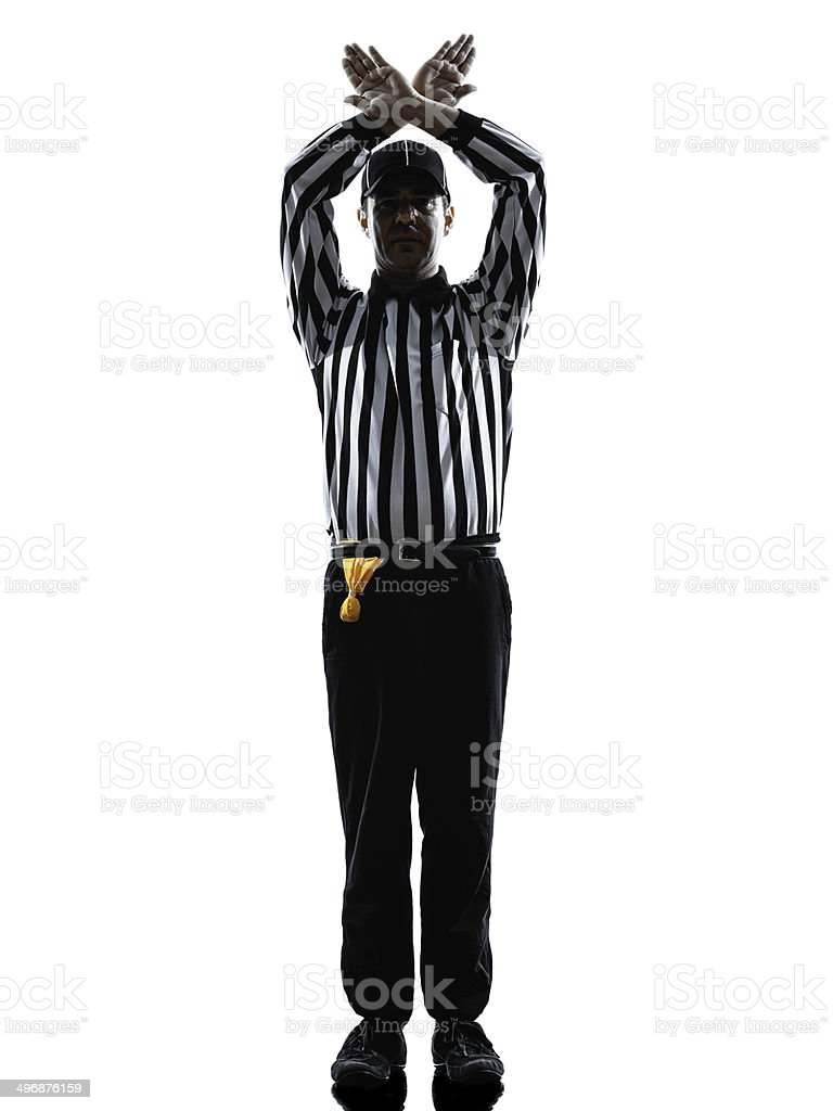 american football referee gestures time out silhouette stock photo