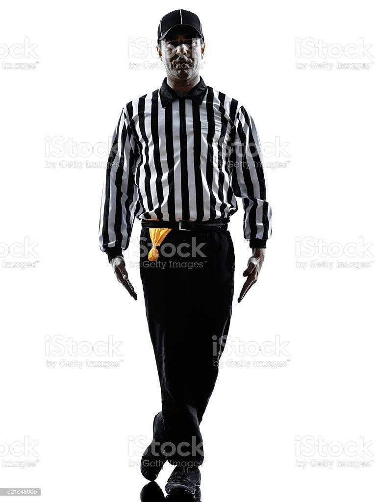 american football referee gestures tripping silhouette stock photo
