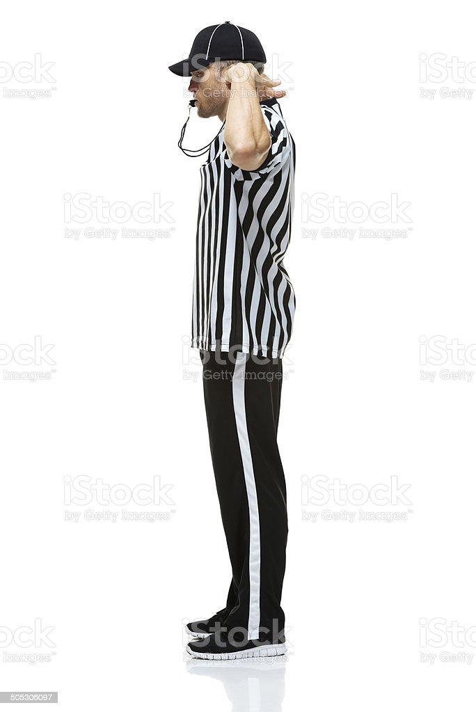 American football referee showing illegal touching royalty-free stock photo