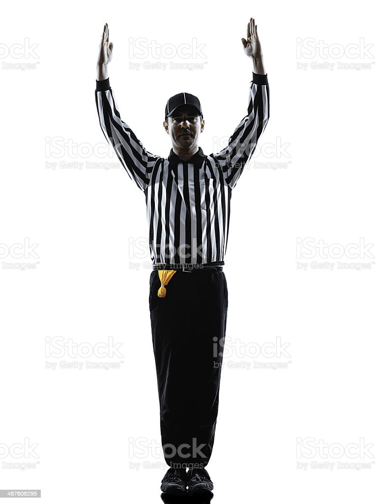 american football referee touchdown gestures silhouettes stock photo