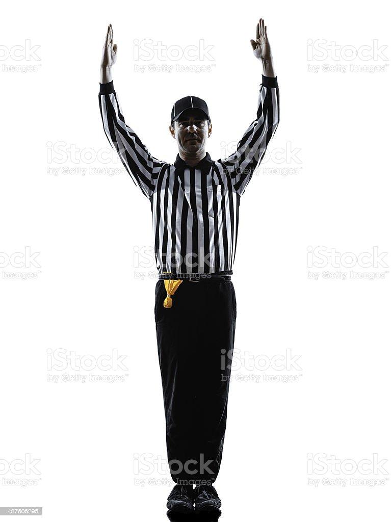 Árbitro del fútbol americano touchdown gestos siluetas - foto de stock