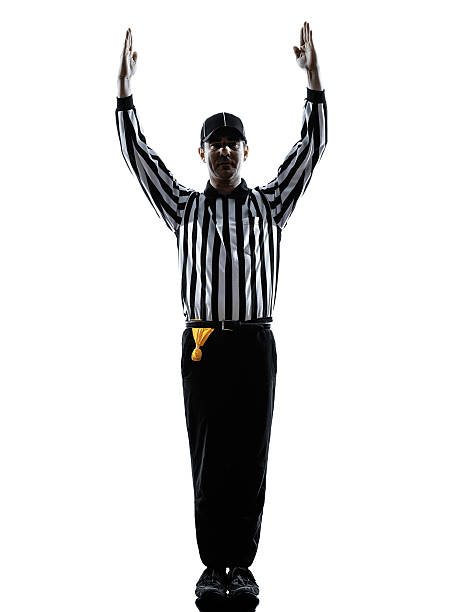 american football referee touchdown gestures silhouettes american football referee touchdown gestures in silhouettes on white background referee stock pictures, royalty-free photos & images