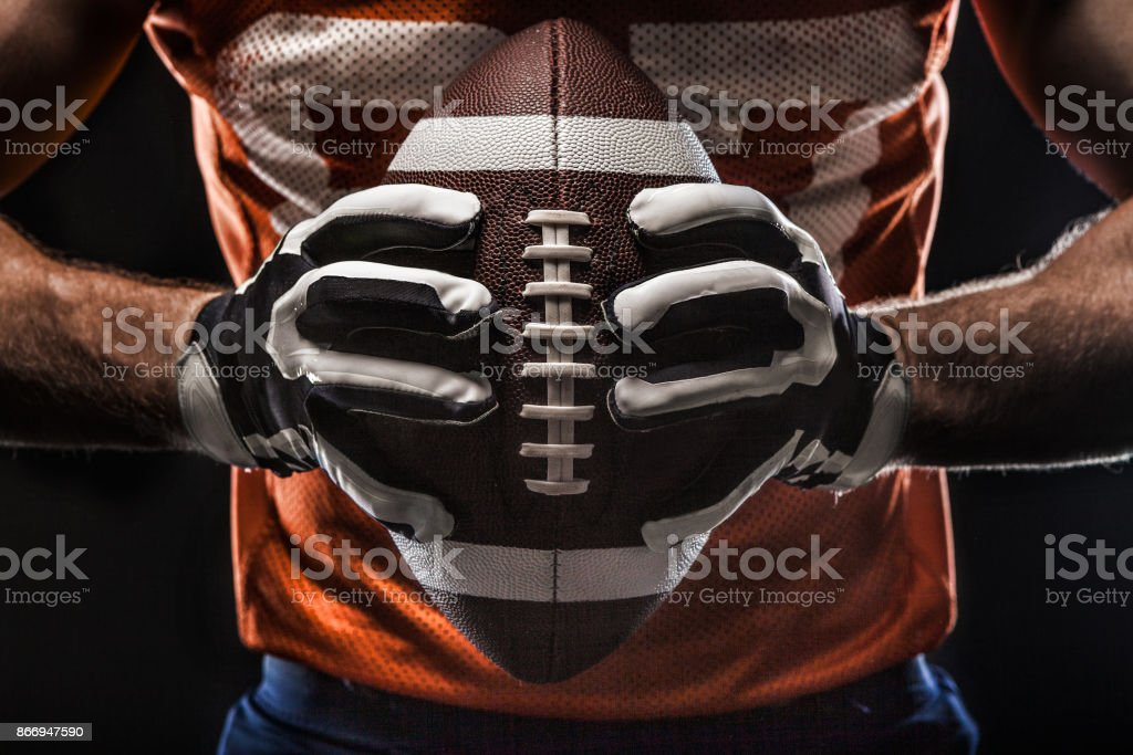 American football sportsman player stock photo