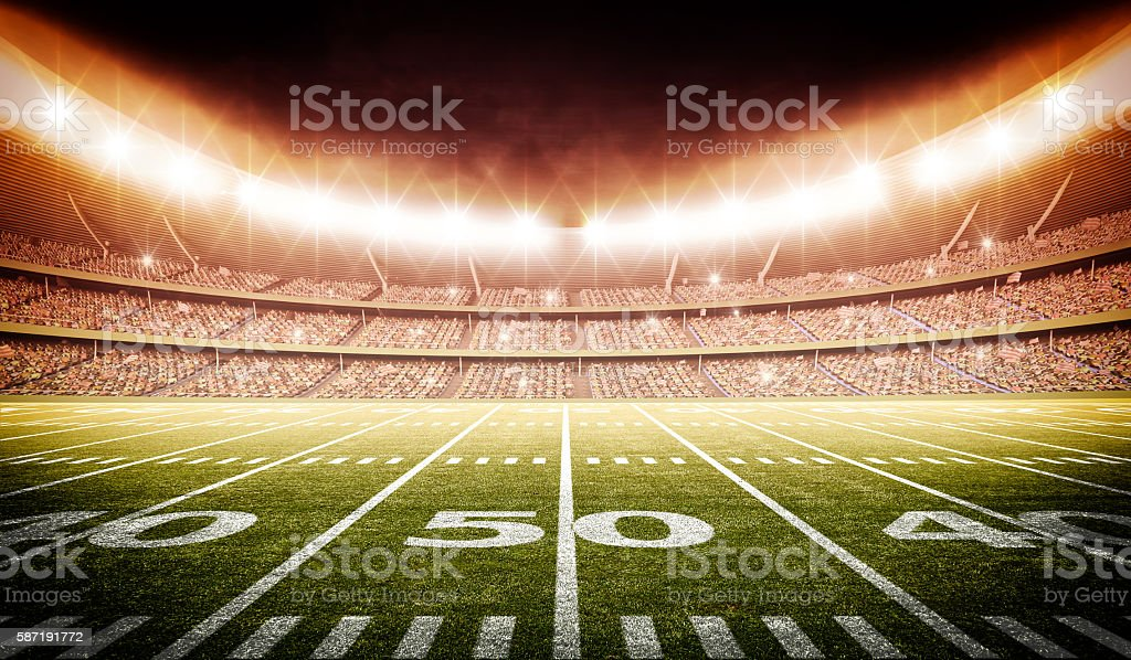 american football stadium 3d stock photo
