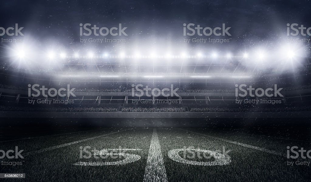 American football stadium in lights and flashes stock photo