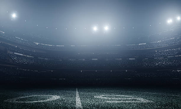 American football stadium American football stadium at night american football field stock pictures, royalty-free photos & images