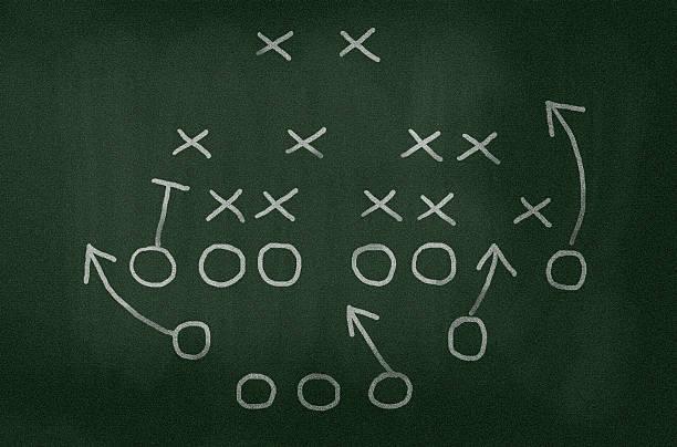 American football-Strategie Zeichnung auf Tafel, vignette hinzugefügt – Foto