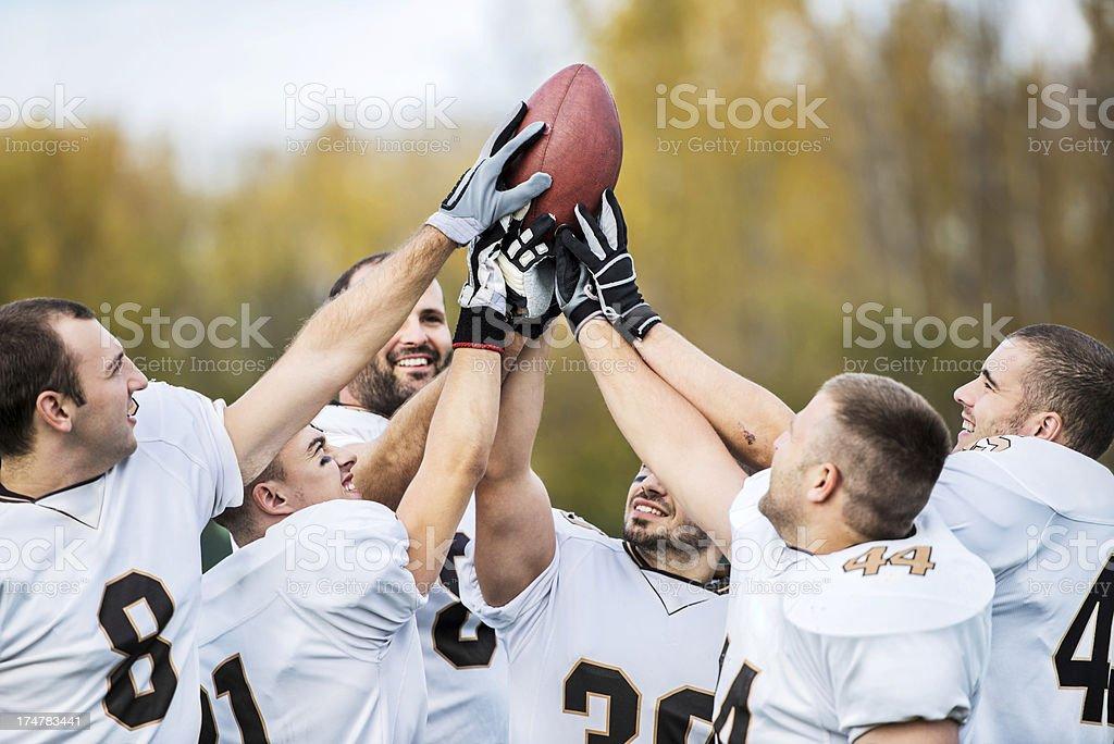 American football winning team. stock photo