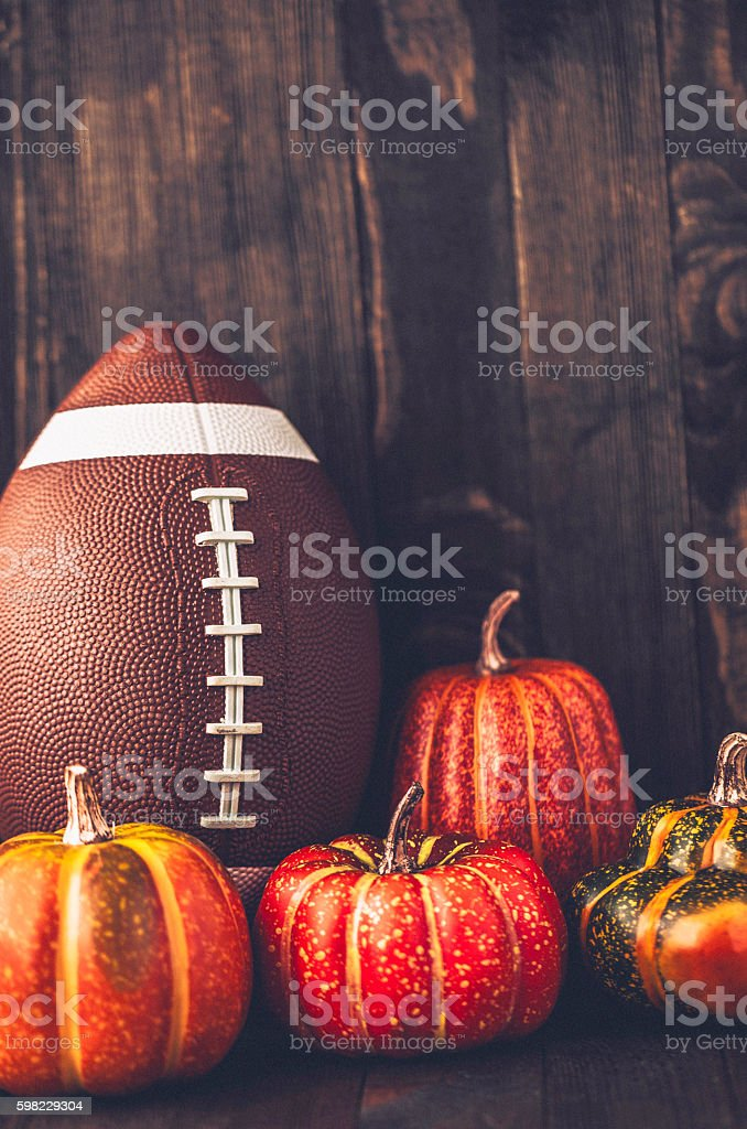 American football with assorted pumpkins foto royalty-free