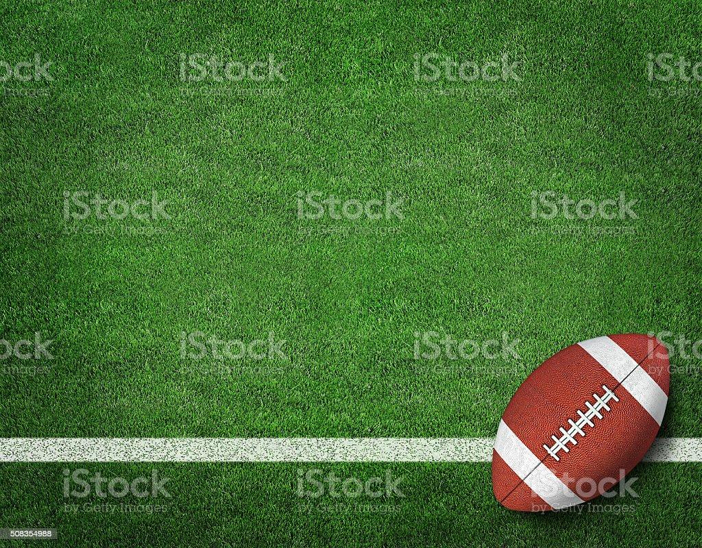 American Football with Yard Line on American Football Field stock photo